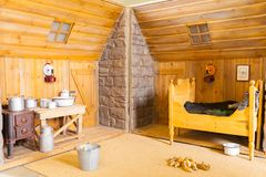 Εσωτερικό μιας κρεβατοκάμαρας ενός παλαιού ισλανδικού ξύλινου σπιτιού Στοκ Εικόνα