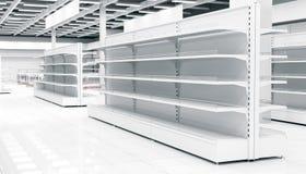 Εσωτερικό μιας υπεραγοράς με τα ράφια για τα αγαθά απεικόνιση αποθεμάτων
