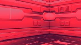 Εσωτερικό μυθιστοριογραφίας υποβάθρου επιστήμης που δίνει τους διαδρόμους διαστημοπλοίων sci-Fi, τρισδιάστατη απόδοση απεικόνιση αποθεμάτων