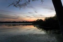 Εσωτερικό μυστικό πάρκο λιμνών στο ηλιοβασίλεμα σε Casselberry Φλώριδα Στοκ Φωτογραφία