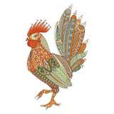 Εσωτερικό πουλί αγροτών κοκκόρων για το χρωματισμό των σελίδων, zentangle απεικόνιση ή δερματοστιξίες με τις υψηλές λεπτομέρειες Στοκ φωτογραφίες με δικαίωμα ελεύθερης χρήσης
