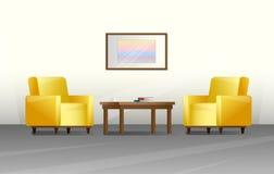 Εσωτερικό σε ένα επίπεδο ύφος Έπιπλα για το καθιστικό r ελεύθερη απεικόνιση δικαιώματος