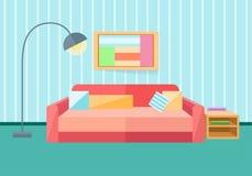Εσωτερικό σε ένα επίπεδο ύφος Καναπές, λαμπτήρας Στοκ Εικόνες