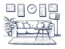 Εσωτερικό σκίτσων Καθιστικό Doodle με τον καναπέ, τα μαξιλάρια και τα πλαίσια εικόνων στον τοίχο Ελεύθερο εγχώριο διάνυσμα σχεδίω απεικόνιση αποθεμάτων