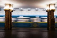 Εσωτερικό σταθμών μετρό Kyiv χωρίς τους ανθρώπους στοκ εικόνες
