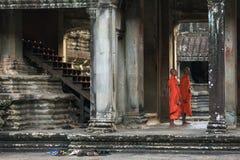 Εσωτερικό στοών ναών Wat Angkor, Καμπότζη Στοκ Εικόνα