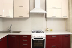 Εσωτερικό σχέδιο εσωτερικών κουζινών Στοκ φωτογραφία με δικαίωμα ελεύθερης χρήσης