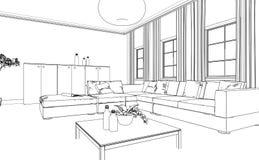 Εσωτερικό σχέδιο συνήθειας καθιστικών σχεδίου Στοκ εικόνα με δικαίωμα ελεύθερης χρήσης