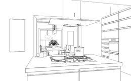Εσωτερικό σχέδιο σχεδίων κουζινών σχεδίου σύγχρονο Στοκ εικόνα με δικαίωμα ελεύθερης χρήσης