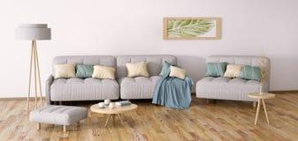 Εσωτερικό σχέδιο του σύγχρονου καθιστικού με την τρισδιάστατη απόδοση καναπέδων Στοκ φωτογραφίες με δικαίωμα ελεύθερης χρήσης