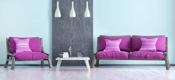 Εσωτερικό σχέδιο του σύγχρονου καθιστικού με τον καναπέ και της πολυθρόνας τρισδιάστατης διανυσματική απεικόνιση