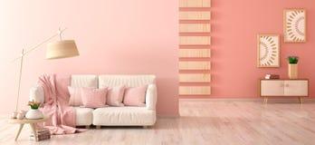 Εσωτερικό σχέδιο του σύγχρονου καθιστικού με τον καναπέ, το λαμπτήρα π στοκ φωτογραφίες