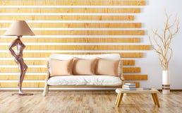 Εσωτερικό σχέδιο του σύγχρονου καθιστικού με τον καναπέ, τρισδιάστατη απόδοση Στοκ φωτογραφία με δικαίωμα ελεύθερης χρήσης