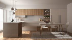 Εσωτερικό σχέδιο υποβάθρου θαμπάδων, σύγχρονη minimalistic ξύλινη κουζίνα με το πάτωμα παρκέ, τάπητας και πανοραμικό παράθυρο, άσ διανυσματική απεικόνιση