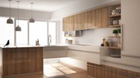 Εσωτερικό σχέδιο υποβάθρου θαμπάδων, σύγχρονη minimalistic ξύλινη κουζίνα με το πάτωμα παρκέ, τάπητας και πανοραμικό παράθυρο, άσ ελεύθερη απεικόνιση δικαιώματος
