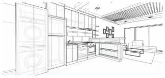 Εσωτερικό σχέδιο: κουζίνα στοκ φωτογραφία με δικαίωμα ελεύθερης χρήσης