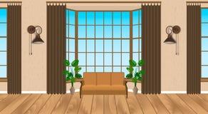 Εσωτερικό σύγχρονο σχέδιο καθιστικών Ελαφριά σοφίτα με το ξύλινο δάπεδο, καναπές, λαμπτήρες, houseplants ελεύθερη απεικόνιση δικαιώματος