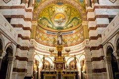 Εσωτερικό της βασιλικής Λα Garde της Notre-Dame de στη Μασσαλία, Γαλλία Στοκ φωτογραφία με δικαίωμα ελεύθερης χρήσης