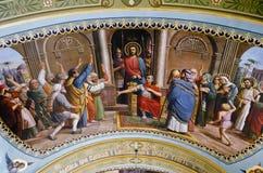 Εσωτερικό της εκκλησίας της Barbara σε Pochaev Lavra, η ζωγραφική επάνω Στοκ φωτογραφίες με δικαίωμα ελεύθερης χρήσης