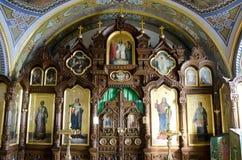 Εσωτερικό της εκκλησίας της Barbara σε Pochaev Lavra Στοκ Εικόνες