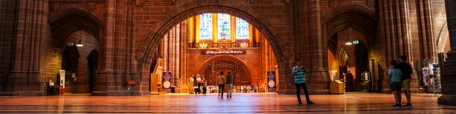 Εσωτερικό της εκκλησίας του αγγλικανικού καθεδρικού ναού της Αγγλίας στο Λίβερπουλ, UK Στοκ Φωτογραφίες