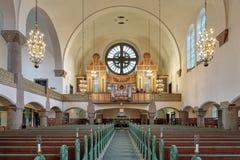 Εσωτερικό της εκκλησίας αγγείων με το όργανο σωλήνων στο Γκέτεμπουργκ, Σουηδία Στοκ Εικόνες