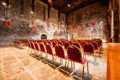 Εσωτερικό της μεγάλης αίθουσας Caerphilly Castle Στοκ Φωτογραφία