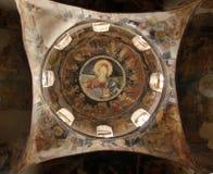 Εσωτερικό της ορθόδοξης χριστιανικής εκκλησίας κοντά στα Σκόπια, Μακεδονία Στοκ Φωτογραφία