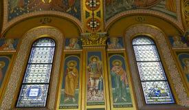 Εσωτερικό της σερβικής Ορθόδοξης Εκκλησίας στο Ζάγκρεμπ, Κροατία Στοκ εικόνες με δικαίωμα ελεύθερης χρήσης
