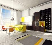 Εσωτερικό της σύγχρονης κουζίνας Στοκ εικόνα με δικαίωμα ελεύθερης χρήσης