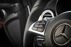 Εσωτερικό της Mercedes-Benz CLA 45 2016 AMG στοκ φωτογραφία