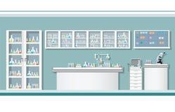 Εσωτερικό του εργαστηρίου επιστήμης ή του εργαστηριακού δωματίου Στοκ εικόνα με δικαίωμα ελεύθερης χρήσης