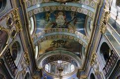 Εσωτερικό του ιερού καθεδρικού ναού Dormition σε Pochaev Lavra (Pocha Στοκ Φωτογραφία