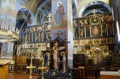 Εσωτερικό του καθεδρικού ναού τριάδας στο ΝΕ Pochaev Lavra (Pochayiv) Στοκ Εικόνες