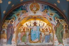 Εσωτερικό του καθεδρικού ναού του ST Panteleimon ο μεγάλος μάρτυρας στο νέο μοναστήρι Athos Ο καθεδρικός ναός, που χτίζεται το 18 στοκ φωτογραφίες
