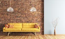 Εσωτερικό του καθιστικού με την απόδοση καναπέδων Στοκ φωτογραφία με δικαίωμα ελεύθερης χρήσης
