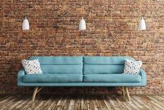 Εσωτερικό του καθιστικού με την τρισδιάστατη απόδοση καναπέδων Στοκ Φωτογραφία
