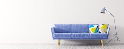 Εσωτερικό του καθιστικού με την τρισδιάστατη απόδοση πανοράματος καναπέδων Στοκ φωτογραφία με δικαίωμα ελεύθερης χρήσης
