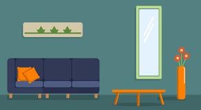 Εσωτερικό του καθιστικού Σχέδιο ενός άνετου δωματίου με τα εξαρτήματα καναπέδων, τραπεζάκι σαλονιού και ντεκόρ στοκ εικόνες με δικαίωμα ελεύθερης χρήσης