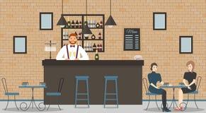 Εσωτερικό του καφέ ή του φραγμού στο ύφος σοφιτών Φραγμός αντίθετος, bartender στο μπλε πουκάμισο με τα ποτήρια της σαμπάνιας, όμ απεικόνιση αποθεμάτων