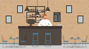 Εσωτερικό του καφέ ή του φραγμού στο ύφος σοφιτών διανυσματική απεικόνιση