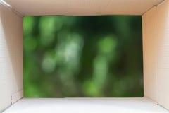 Εσωτερικό του καφετιού κουτιού από χαρτόνι με το πράσινο υπόβαθρο φύσης, θαμπάδα Στοκ Φωτογραφία