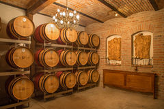 Εσωτερικό του κελαριού κρασιού του μεγάλου σλοβάκικου παραγωγού. Στοκ εικόνα με δικαίωμα ελεύθερης χρήσης