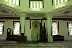 Εσωτερικό του μουσουλμανικού τεμένους της Κουάλα Λουμπούρ Jamek στη Μαλαισία Στοκ Εικόνα
