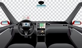 Εσωτερικό του μόνου οδηγώντας αυτοκινήτου με τη ναυσιπλοΐα, τον κεντρικό αγωγό και το κεφάλι επάνω στις επιδείξεις απεικόνιση αποθεμάτων