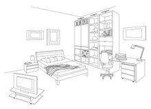 Εσωτερικό του ξενοδοχείου ή του στούντιο στο σχέδιο περιλήψεων Απεικόνιση αποθεμάτων