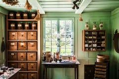Εσωτερικό του παλαιού ελβετικού σπιτιού στο υπαίθριο μουσείο Ballenberg, Brien Στοκ Φωτογραφίες