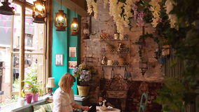 Εσωτερικό του Ρίτσμοντ Tearooms στο Μάντσεστερ, Αγγλία Στοκ εικόνες με δικαίωμα ελεύθερης χρήσης