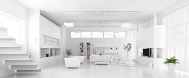 Εσωτερικό του σύγχρονου άσπρου πανοράματος καθιστικών Στοκ Εικόνα