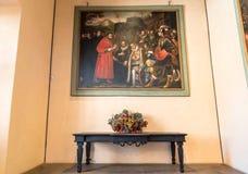 Εσωτερικό του φρουρίου Borromeo Angera ή Rocca Di Anger Είναι το Castle της λίμνης Maggiore σε Angera Στοκ Φωτογραφία